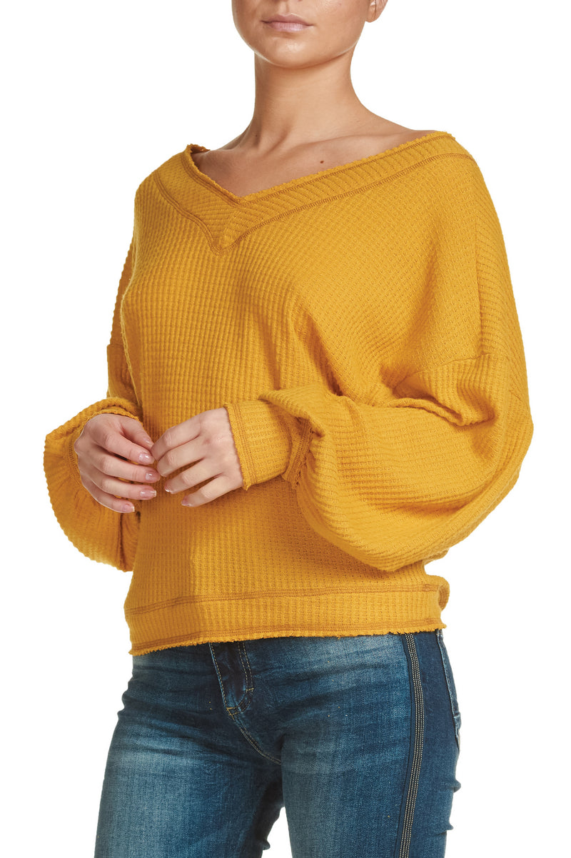 V-Neck Slouchy Sweater Blouse with Bubble Sleeves