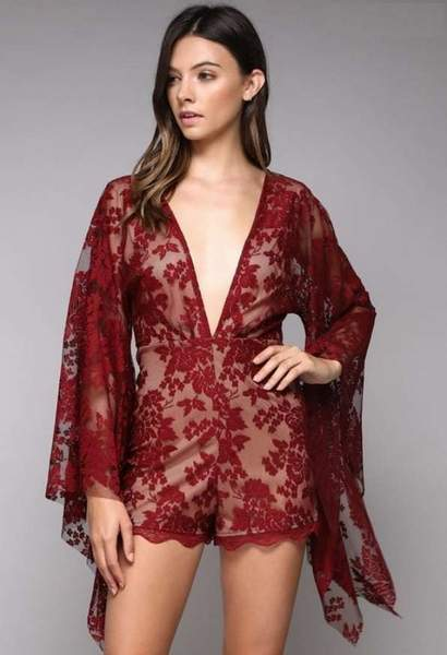 Bell Sleeve Burgundy Lace Romper