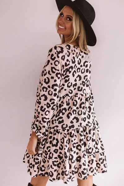 Leopard Tiered Babydoll Dress