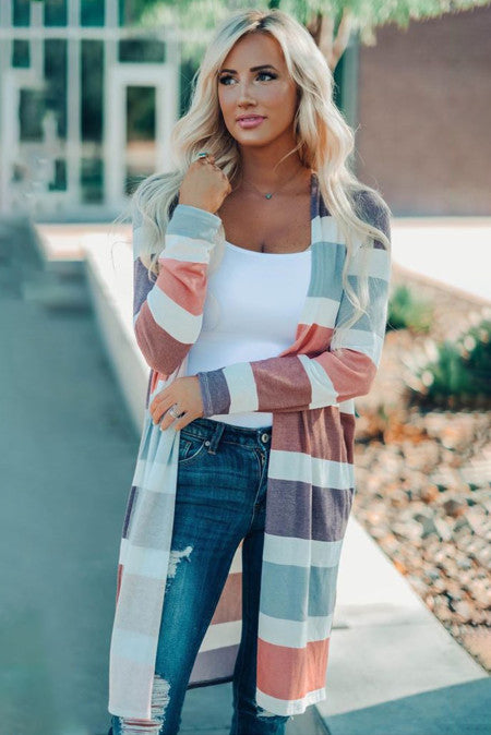 Stripe Textured Open Cardigan