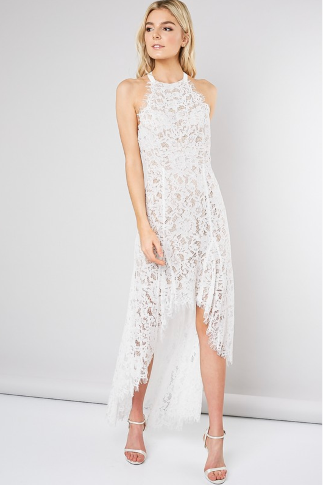 White Lace Halter Dress