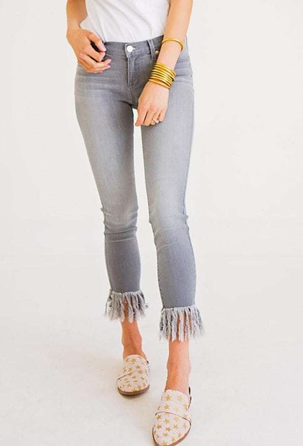a55c1cd4353ff3 Fringe Bottom Jeans in Grey - WalterGreenBoutique