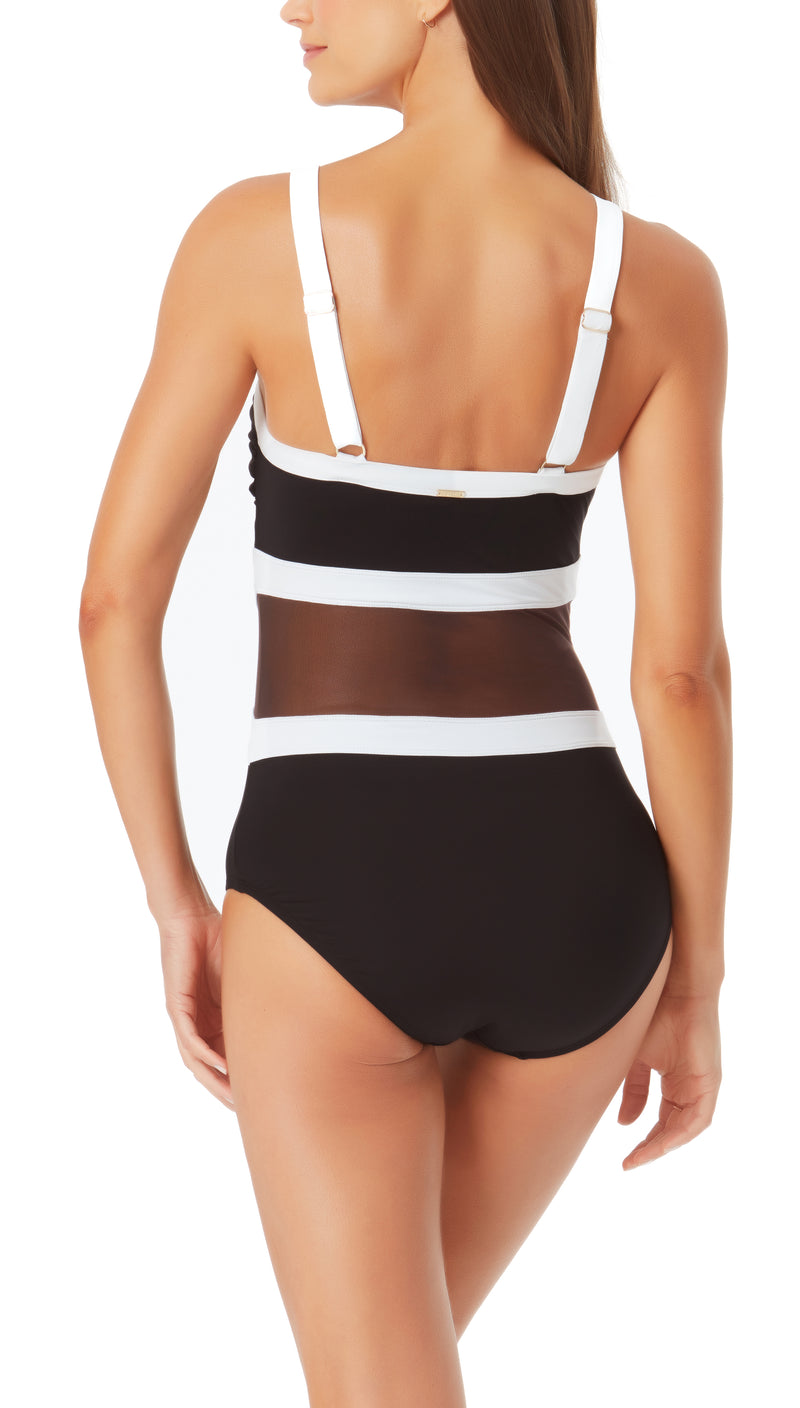 High Neck Mesh One Piece by Anne Cole