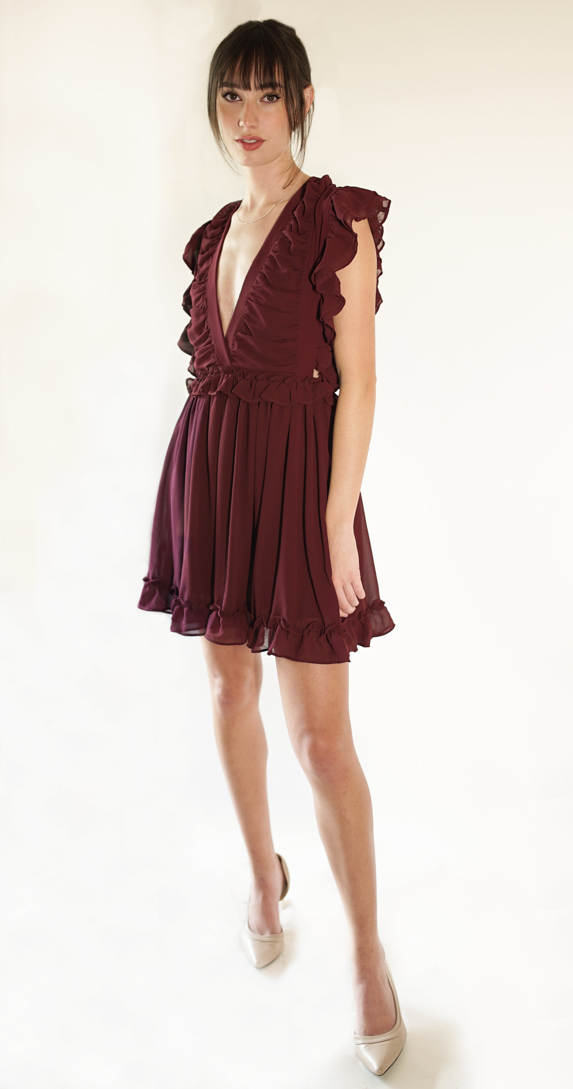 RUFFLED V NECK MINI NIGHT OUT DRESS