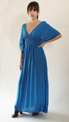 Deep V Smocked Waist Maxi Dress