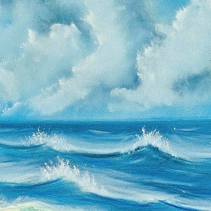Large Vancouver BC Beach Waves Painting -  Oil on Canvas Canadian Seascape by Vancouver Island artist Robbie Stroud.