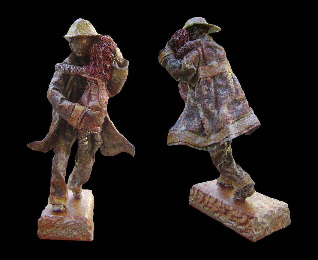 Firefighter sculpture in mixed media, West Coast Artisan Gallery