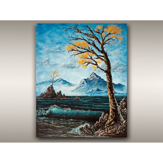 "British Columbia Oil on Canvas Autumn Seascape Painting - 16"" x 20"" Large Vancouver Mountain Landscape by Robbie Stroud"
