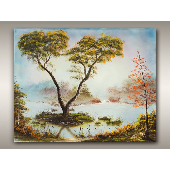 West Coast oil painting of the B.C. autumn trees in deep woods landscape by Robbie Stroud of RobbARTBoutique.