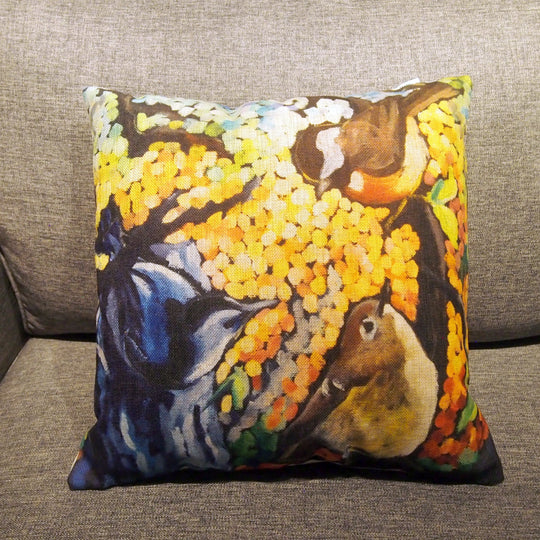 Printed Pillow Cover - Backyard Birds