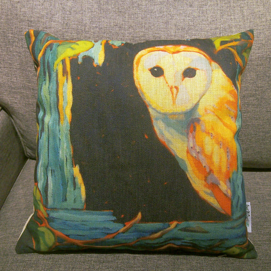Printed pillow cover - Barn Owl by Janet McDonald