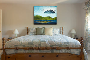 BC Mountains, Waves Seascape Oil Painting by Robbie Stroud