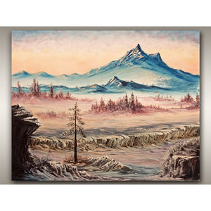 Large Mountain Oil on Canvas Painting - Vancouver Island BC Landscape during Canadian Winter by RobbARTBoutique