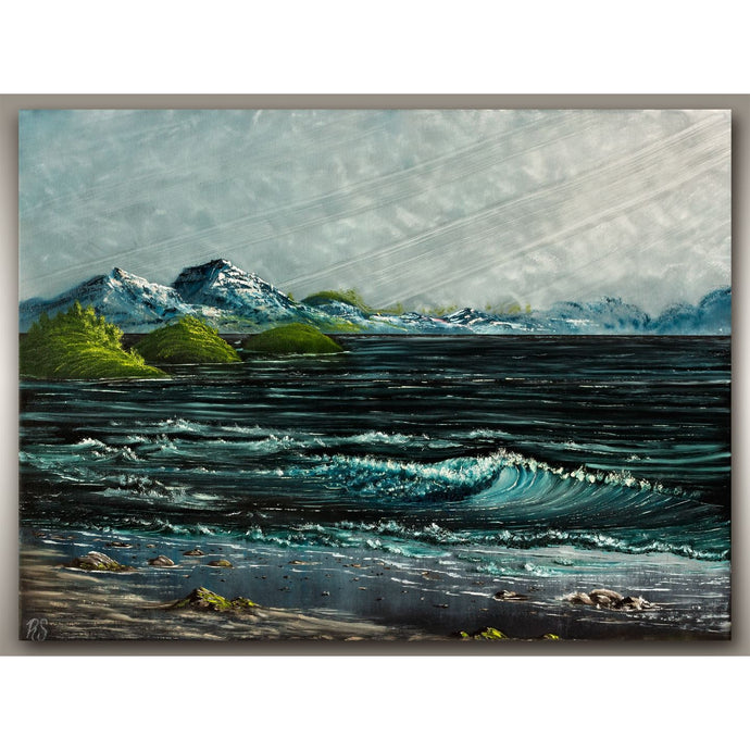 West Coast oil painting of waves in this stormy spring seascape on Vancouver Island by, Robbie Stroud of RobbARTBoutique.