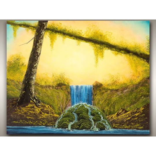 This is a West Coast oil painting of a waterfall in a mossy forest landscape on Vancouver Island by, Robbie Stroud of RobbARTBoutique