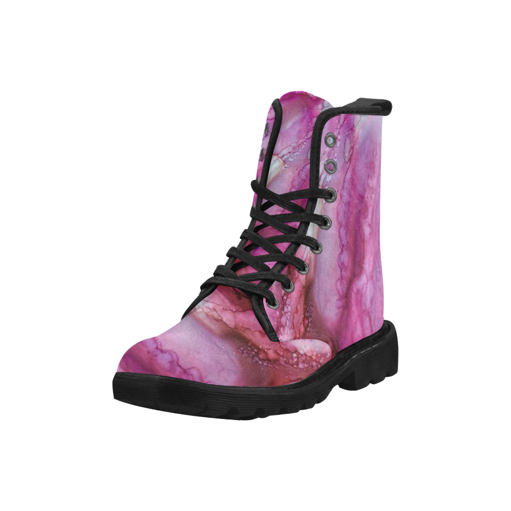 Custom Designed Combat-Style Boots - Bashful II, by West Coast Artist, Pattiann Withapea