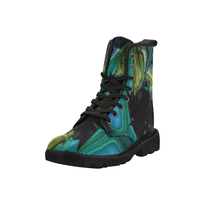 Custom Designed Combat-Style Boots - So Black Hole, by West Coast Artist, Pattiann Withapea