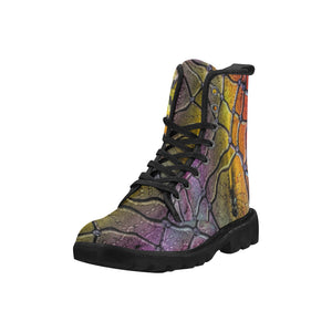 Custom Designed Combat-Style Boots - Caught in a Trap, by West Coast Artist, Pattiann Withapea
