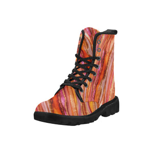 Custom Designed Combat-Style Boots - Happy Feet, by West Coast Artist, Pattiann Withapea