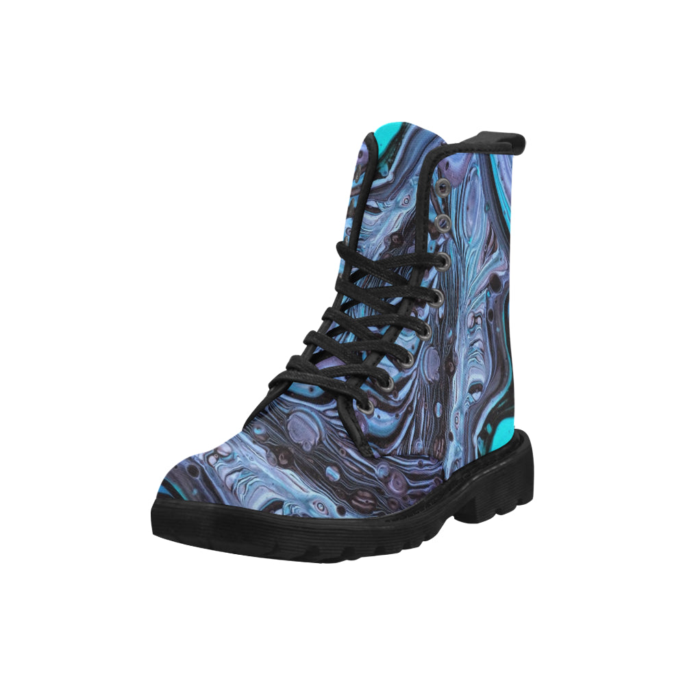 Custom Designed Combat-Style Boots - Mummie Unravelling, by West Coast Artist, Pattiann Withapea