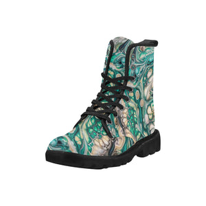 Custom Designed Combat-Style Boots - Not a Valentine, by West Coast Artist, Pattiann Withapea