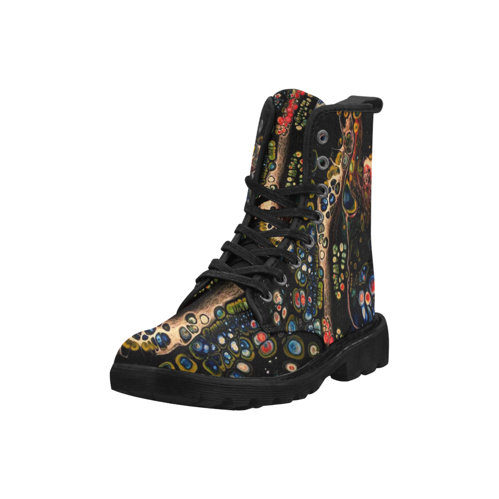 Custom Designed Combat-Style Boots - Pea Tree Dish, by West Coast Artist, Pattiann Withapea