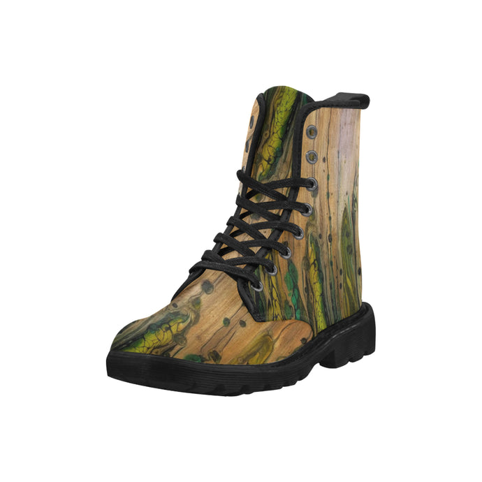 Custom Designed Combat-Style Boots - Snakewood, by West Coast Artist, Pattiann Withapea