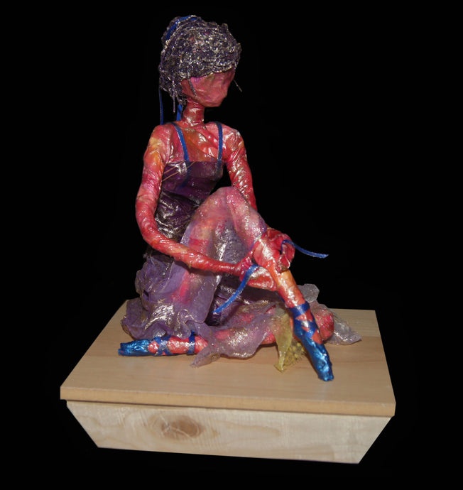 Dancer sculpture in mixed media, West Coast Artisan Gallery