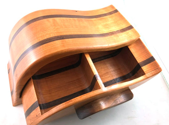 Wooden Jewelry & Accessory Box - Leaf Bandsaw Box