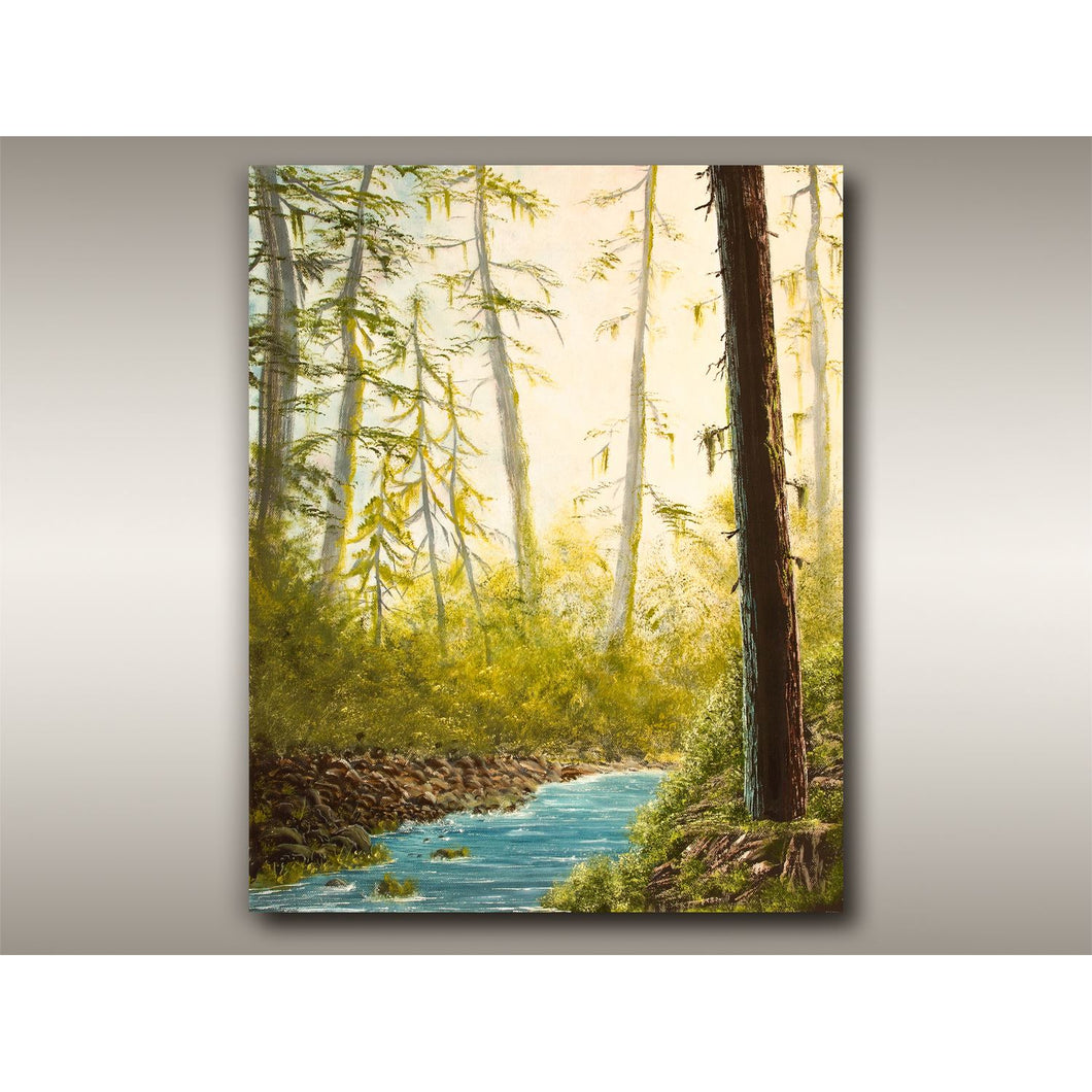 Oil painting of Tofino BC old growth forest with river passing through by Robbie Stroud.