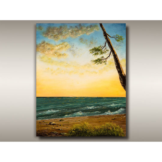 West Coast oil painting of sunset seascape by Robbie Stroud