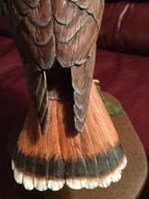 Load image into Gallery viewer, Wood carving of a red-tailed hawk by West Coast carver Ed Raaflaub