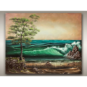 West Coast oil painting of summer crashing waves landscape by Robbie Stroud