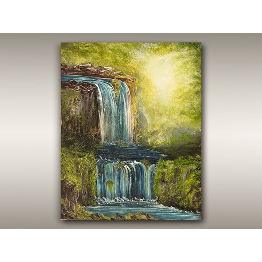 Oil painting of a Tofino mossy rainforest and waterfalls by RobbARTBoutique