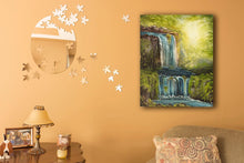 Load image into Gallery viewer, Oil painting of a Tofino mossy rainforest and waterfalls by RobbARTBoutique