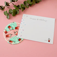 Load image into Gallery viewer, Bubble Tea BDay Card PLUS Coaster!