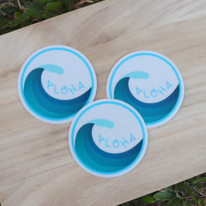 Aloha Wave - Clear Large Sticker