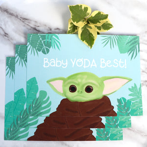 Baby Yoda Best! - Large Postcard