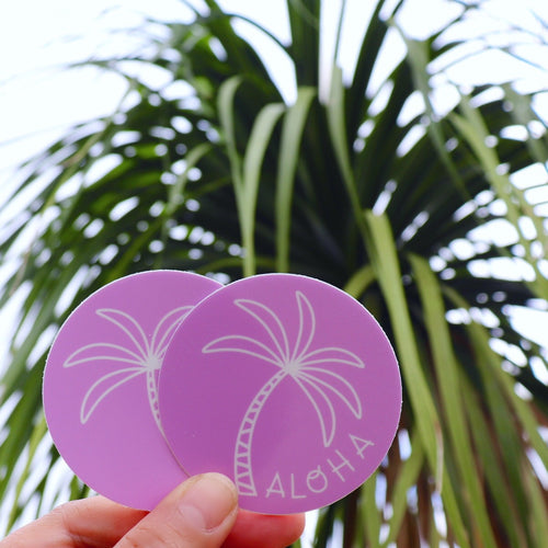Purple Palm - Medium Aloha Sticker