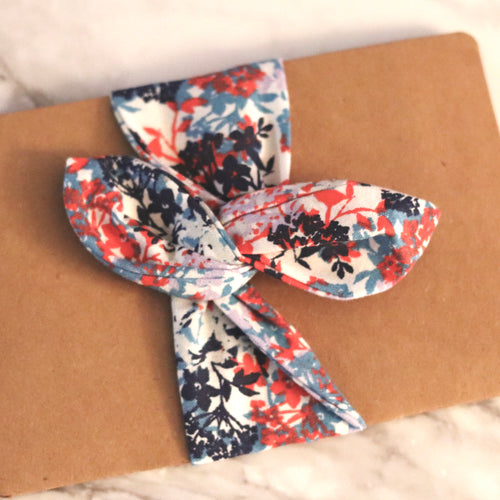 Blue + Red Hair Wrap - Medium