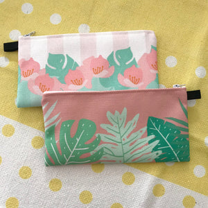 Lotus & Stripes - Fabric Pouch
