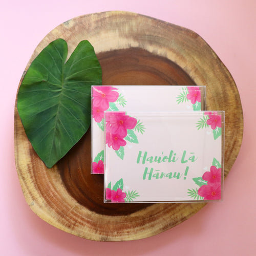 Hauʻoli Lā Hānau (Happy Birthday) - Pink Postcard-Style Card