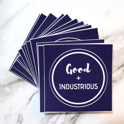Good + Industrious - Blue & White Circle Sticker