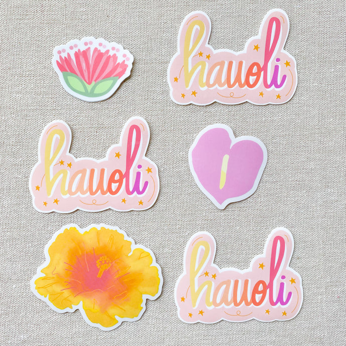 Hauʻoli means Happy! - Glossy Medium Sticker