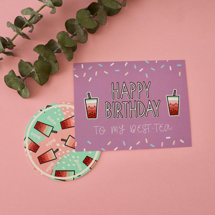 Bubble Tea BDay Card PLUS Coaster!