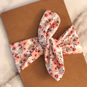 Pink Floral Hair Wrap - Medium