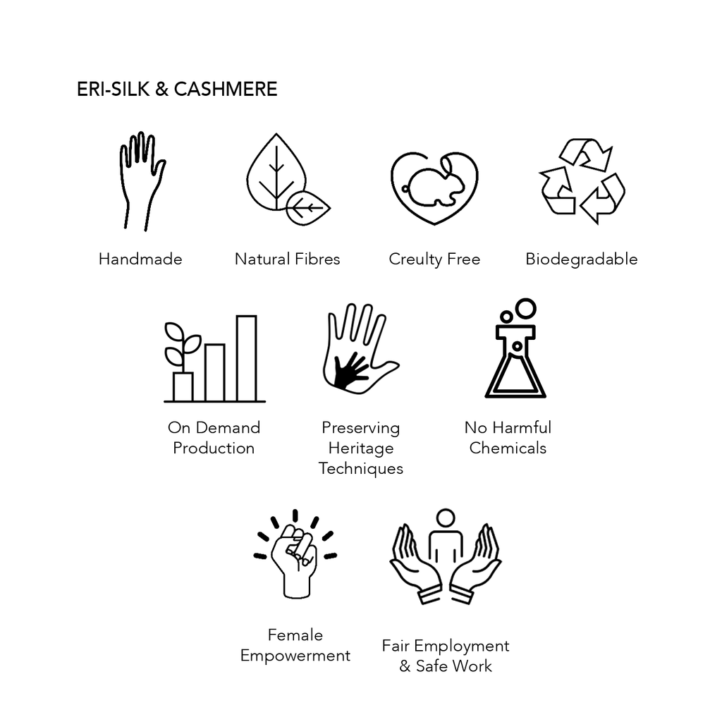 Eri-Silk & Cashmere Eco Credentials, handmade, natural fibres, cruelty free, biodegradable, on demand production, preserving heritage techniques, no harmful chemicals used, female empowerment and fair employment and safe work.
