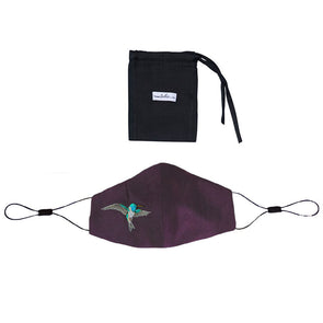 Adjustable Silk Mask with Embroidered Hummingbird - Purple - PRE ORDER