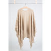 Hanging back view fringed travel wrap light brown beige cream striped edge fringed cashmere wool from Thread Tales company