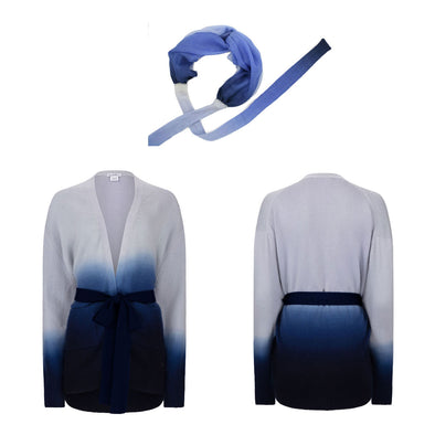 Gift Set - Dip Dye Cashmere Cardigan Ink Ombre and Blue Headband (worth £349)